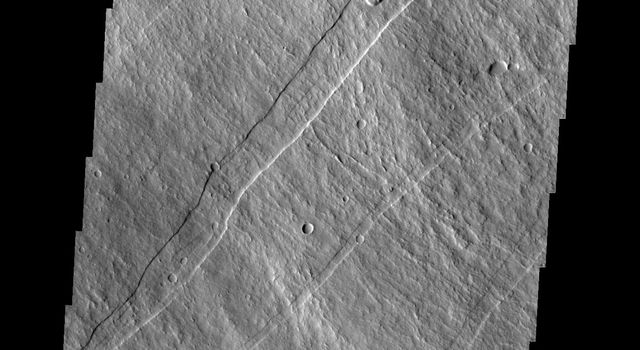 This image from NASA's 2001 Mars Odyssey spacecraft shows part of the southeastern flank of Arsia Mons, including the flat lying flows around the base of the volcano. These flows are located at the bottom of the image.