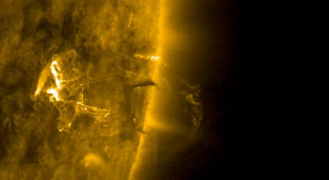 NASA's Solar Dynamics Observatory observed a small coronal mass ejection that was also associated with a small flare on Jan. 22, 2018.