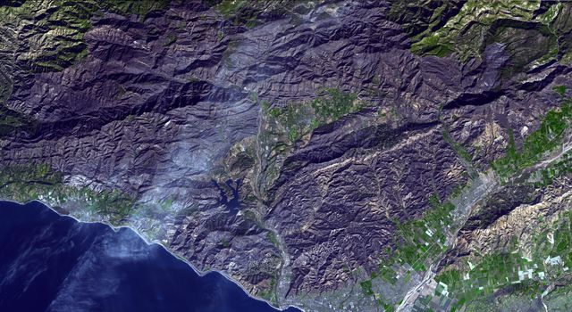 On Dec 26, 2017, NASA's Terra acquired this image of The Thomas Fire, the largest wildfire in California's recorded history. As of January 3, 2018, it was 93 percent contained after burning 282,000 acres and destroying 1,063 structures.