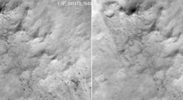 Slight Blurring in Newer Image from Mars Orbiter
