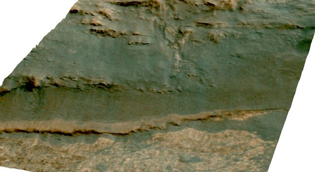 The channel descending a Martian slope in this perspective view is 'Perseverance Valley,' the study area of NASA's Mars Exploration Rover Opportunity as the rover passes its 5,000th sol, or Martian day, of its mission on the surface of Mars.