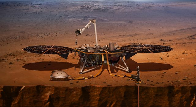 This artist's concept shows NASA's InSight lander, its sensors, cameras and instruments.