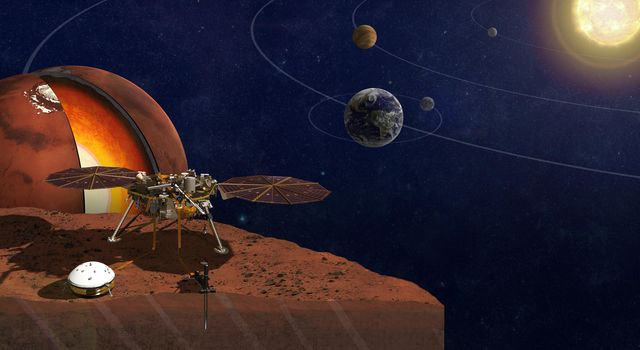 This image is an artist's rendition of NASA's InSight lander. The lander will seek the fingerprints of the processes that formed the rocky planets of the solar system, more than 4 billion years ago.