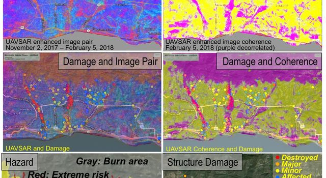 Effects of Deadly California Debris Flows Seen in Before/After Images from NASA's UAVSAR