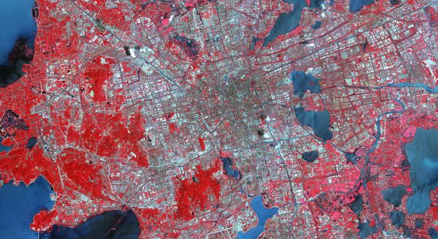 Suzhou is a major city located in southeastern Jiangsu Province of East China, about 100 km northwest of Shanghai. This image from NASA's Terra spacecraft was acquired August 2, 2015.