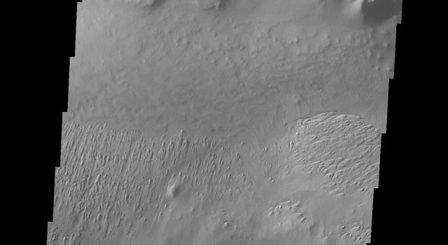 This image from NASA's 2001 Mars Odyssey spacecraft shows part of Tithonium Chasma. A lobate 'tongue' visible between the ridge and the top of the canyon is the deposit left by a landslide event.
