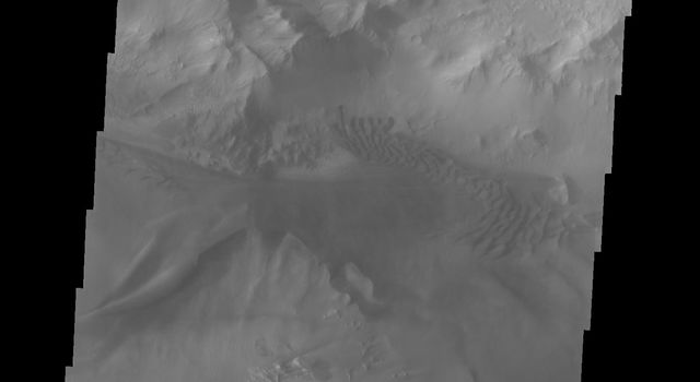 This image captured by NASA's 2001 Mars Odyssey spacecraft shows a section of Ius Chasma that is not dominated by landslide deposits. Geryon Montes has several visible faults, including a pair of faults that divide the uppermost ridge into two sections.