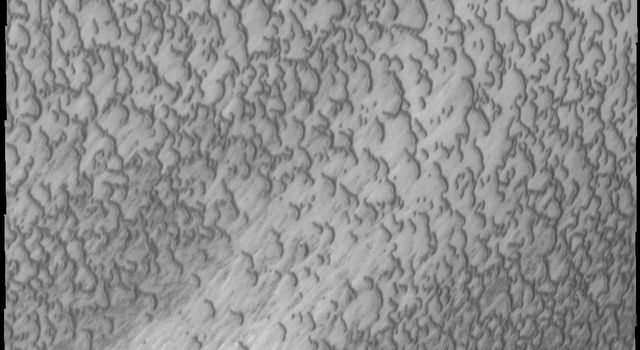 This image from NASA's 2001 Mars Odyssey spacecraft highlights the dune form/dune density aspects of Olypmia Undae. In the center there is a brighter, diagonal region of few dunes.