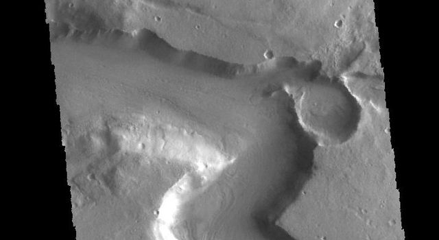 This image captured by NASA's 2001 Mars Odyssey spacecraft shows a section of Mamers Valles, located in Arabia Terra.