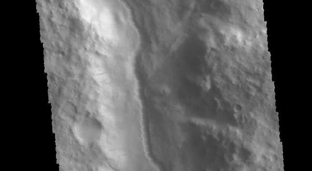 This image from NASA's 2001 Mars Odyssey spacecraft is located along the northern margin of Terra Sirenum. This unnamed channel contains a small channel within a larger channel.