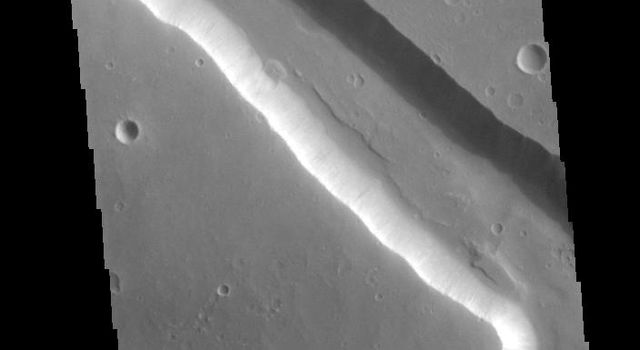 Located on the western margin of Lunae Planum, Sacra Fossae is a group of linear depressions. The right angle turns and uniform width seen in this image from NASA's 2001 Mars Odyssey spacecraft indicate that these channels were formed by faulting.