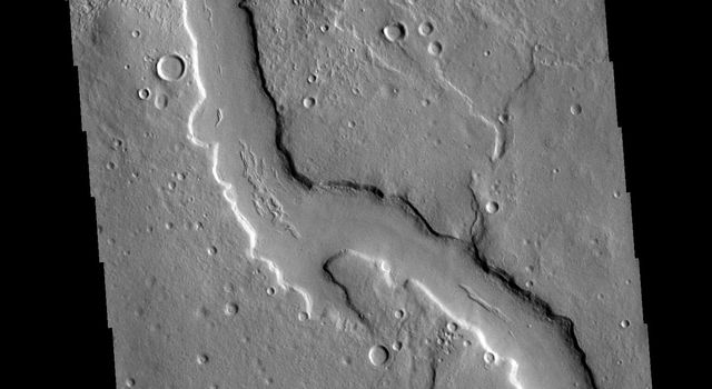 The northern margins of Arabia Terra and Terra Sabaea contain many unnamed channels. This channel is located in Terra Sabaea. The channel flow is toward the top of this image from NASA's 2001 Mars Odyssey spacecraft.