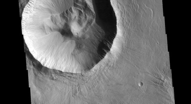 This image from NASA's 2001 Mars Odyssey spacecraft shows an unnamed crater located in Utopia Planitia. This relatively young crater has a steep inner rim, with floor deposits that originate from the crater rim itself.