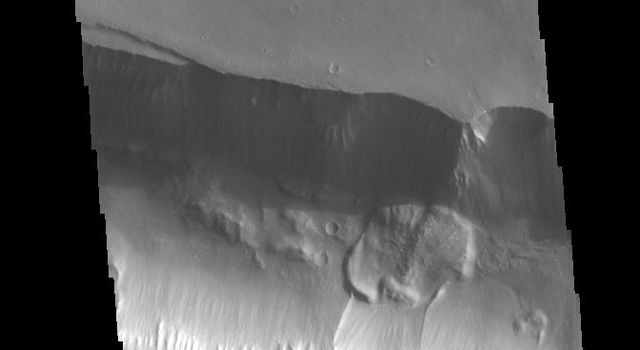 A landslide deposit is visible in this image of Coprates Catena. Coprates Catena parallels the much larger Coprates Chasma; both are part of Valles Marineris. This image was captured by NASA's 2001 Mars Odyssey spacecraft.