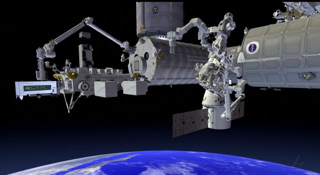 This artist's concept shows NASA's ECOSTRESS which will be installed on International Space Station's Japanese Experiment Module - External Facility (JEM-EF) site 10.