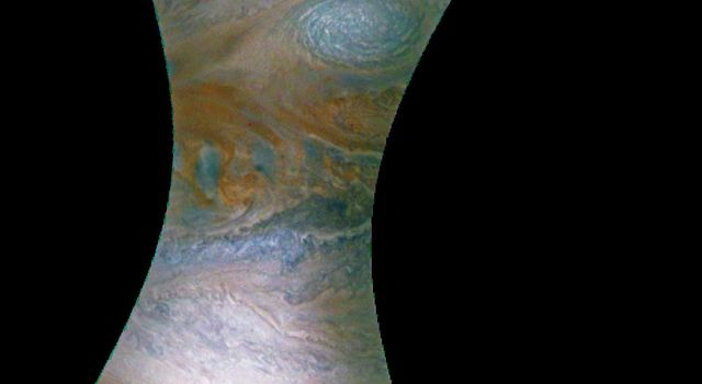 This image NASA's Juno spacecraft captures the dynamic nature of Jupiter's northern temperate belt. The view reveals a white, oval-shaped anticyclonic storm called WS-4.