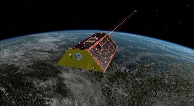 Artist's rendering of the twin spacecraft of the Gravity Recovery and Climate Experiment Follow-On (GRACE-FO) mission, scheduled to launch in May, 2018.