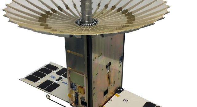 The RainCube 6U CubeSat with fully-deployed antenna.