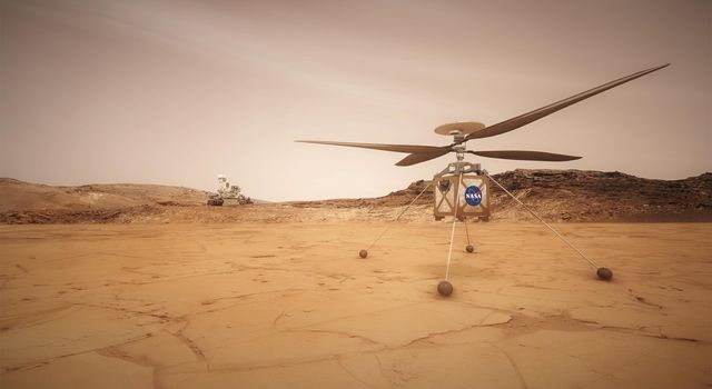 This artist concept shows the Mars Helicopter, a small, autonomous rotorcraft, which will travel with NASA's Mars 2020 rover mission to demonstrate the viability and potential of heavier-than-air vehicles on the Red Planet.