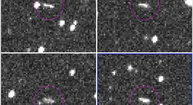 These are the discovery observations of asteroid 2018 LA from the Catalina Sky Survey, taken June 2, 2018. About 8 hours after they were taken, the asteroid entered Earth's atmosphere and disintegrated in the upper atmosphere near Botswana, Africa.
