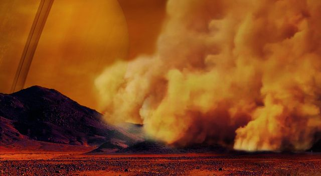 Dust Storms Raised by Strong Winds on Titan (Artist