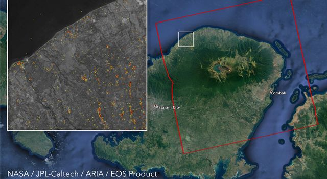 ARIA Damage Proxy Map of Lombok, Indonesia Earthquakes