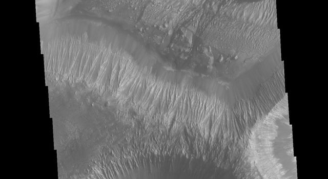 This image from NASA's Mars Odyssey is located in the center of Hebes Chasma, a large deposit of layered material called Hebes Mensa.