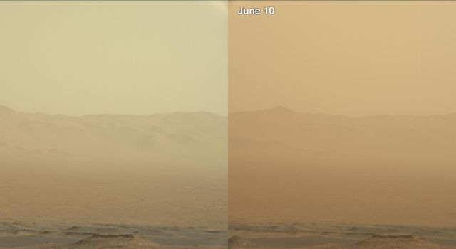 These two views from NASA's Curiosity rover, acquired specifically to measure the amount of dust inside Gale Crater, show that dust has increased over three days from a major Martian dust storm.