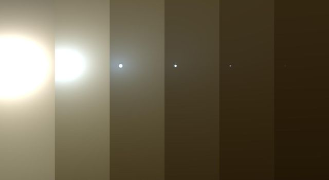 This series of images shows simulated views of a darkening Martian sky blotting out the Sun from NASA's Opportunity rover's point of view, with the right side simulating Opportunity's current view in the global dust storm (June 2018).