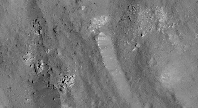 This image of a boulder field near Ceres' Occator Crater's eastern rim was obtained by NASA's Dawn spacecraft on June 9, 2018 from an altitude of about 30 miles (48 kilometers).