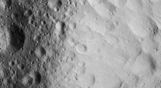 This image of a battered crater rim on Ceres was obtained by NASA's Dawn spacecraft on June 10, 2018 from an altitude of about 25 miles (40 kilometers).