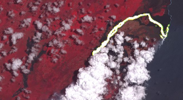 On June 23, 2018, NASA's Terra spacecraft acquired this image of Hawaii's Kilauea volcanic eruption which continues after seven weeks of continuous outpouring of lava over the northeastern part of the island.