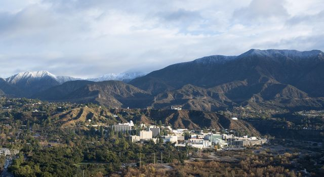 Photo of NASA's Jet Propulsion Laboratory nestled in the Pasadena, Calif. hillside, taken in January, 2016.