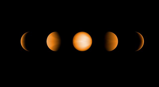 Based on data from NASA's Hubble and Spitzer Space Telescopes, these simulated views of the ultrahot Jupiter WASP-121b show what the planet might look like from five different vantage points, illuminated to different degrees by its parent star.