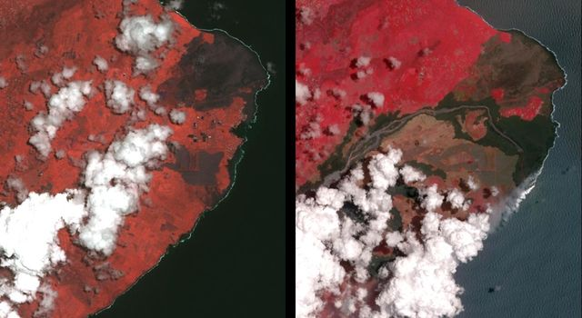 Dramatic Changes from Kilauea Leilani Estates Lava Flows Seen by NASA Spacecraft