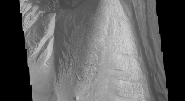 This image from NASA's Mars Odyssey shows a portion of Ophir Chasma, a part of Valles Marineris, the largest canyon system on Mars. At the top of the image is a portion of a large landslide deposit which originate at the northern wall of the canyon.