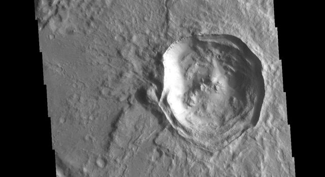 This image from NASA's Mars Odyssey shows an unnamed crater in Noachis Terra. The crater is relatively young, with several different structures on the floor and rim still visible.
