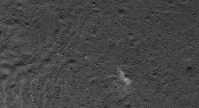 This image of complex patterns on Occator Crater's floor on Ceres was obtained by NASA's Dawn spacecraft on July 5, 2018 from an altitude of about 32 miles (52 kilometers).