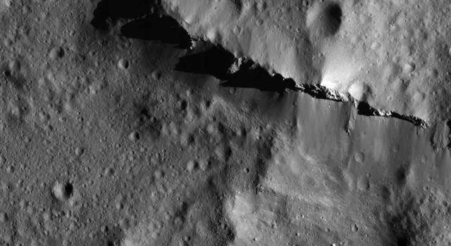 This image of Urvara Crater's ridge on Ceres was obtained by NASA's Dawn spacecraft on July 5, 2018 from an altitude of about 75 miles (121 kilometers).