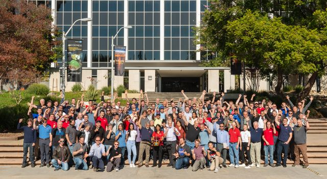 Morale was high as the Mars Helicopter team gathered for a group photo on Dec. 3, 2018, at NASAs Jet Propulsion Laboratory in Southern California.