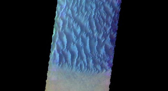 This image from NASA's Mars Odyssey shows the floor of Proctor Crater, including the large dune field. Proctor Crater is located in Noachis Terra.