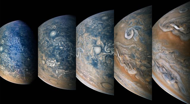 Striking atmospheric features in Jupiter's northern hemisphere are captured in this series of color-enhanced images from NASA's Juno spacecraft.