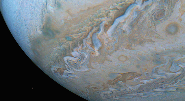 Changing cloud formations across Jupiters southern hemisphere are captured in this series of images from NASAs Juno spacecraft.