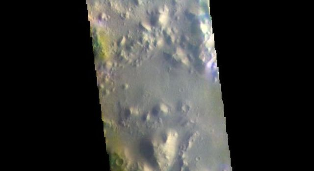 This image from NASA's Mars Odyssey shows Nepenthes Mensa, the region of hills and mesas north of Terra Cimmeria.
