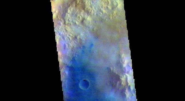 This image from NASAs Mars Odyssey shows Tombaugh Crater. Dark blue tones are basaltic sands of the floor of the crater.