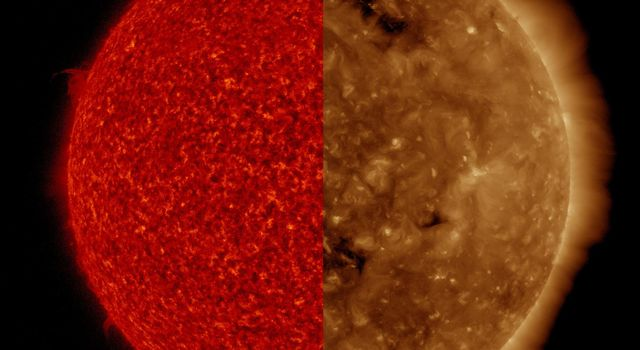 NASAs Solar Dynamics Observatory shows two images taken at virtually the same time but in different wavelengths of extreme ultraviolet light.