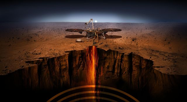 This artists illustration depicts NASAs InSight lander on Mars.
