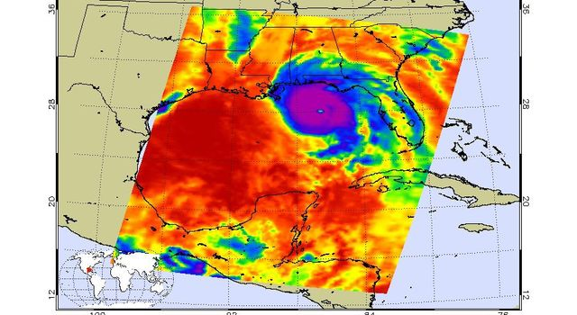 This image, taken on Oct. 10, 2018 by NASAs Aqua satellite shows the temperature of clouds or the surface in and around Hurricane Michael as it approaches northwestern Florida.