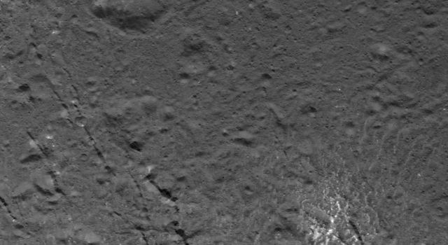 This image of a complex pattern on the floor of Occator Crater was obtained by NASAs Dawn spacecraft on July 16, 2018 from an altitude of about 58 miles (93 kilometers).
