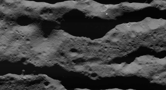 This image of deep fractures in Occator Crater was obtained by NASAs Dawn spacecraft on July 31, 2018 from an altitude of about 31 miles (50 kilometers).